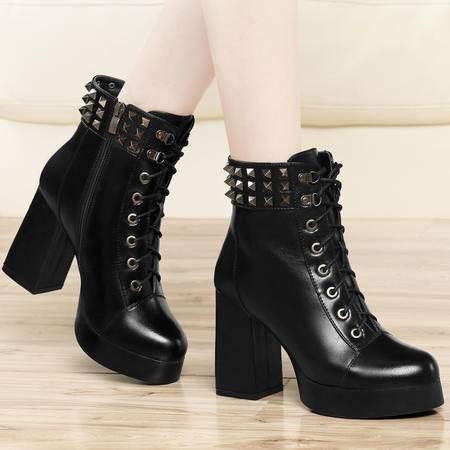 古奇天伦2014秋冬新款马丁靴粗跟高跟单靴铆钉防水台短靴系带女鞋潮靴子