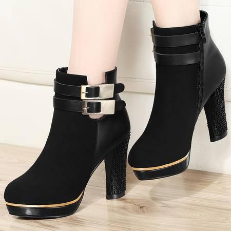古奇天伦2014新款秋冬季短靴单靴女靴子高跟鞋粗跟马丁靴及踝靴女鞋