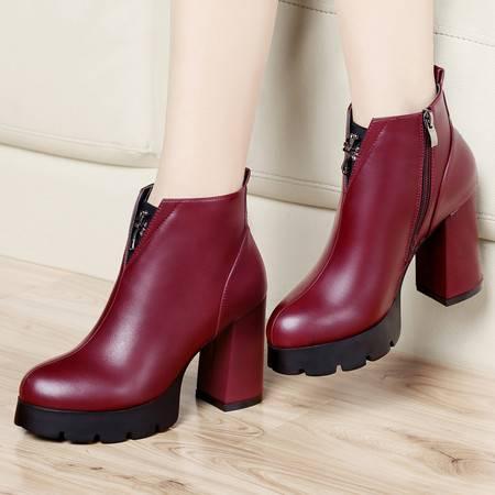 古奇天伦2014秋冬新款防水台女靴粗跟女鞋骑士靴保暖高跟短靴及踝靴