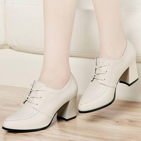古奇天伦2014秋季新款英伦深口单鞋真皮皮鞋高跟鞋粗跟尖头休闲鞋女鞋
