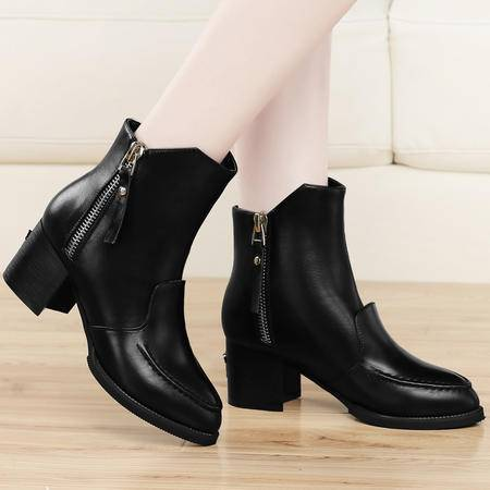古奇天伦2014秋季新款时尚女靴尖头粗跟高跟女鞋马丁靴短靴子