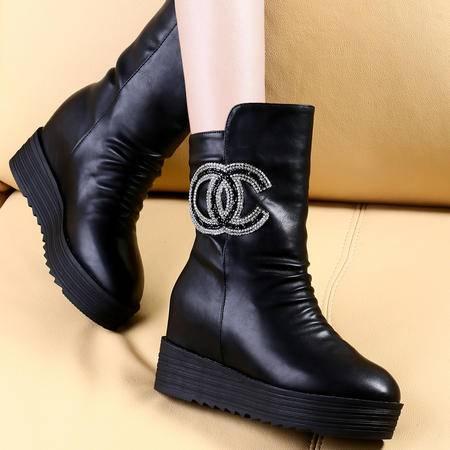 莱卡金顿2014秋冬中筒靴平底马丁靴防水台女靴子厚底雪地靴加绒保暖女鞋