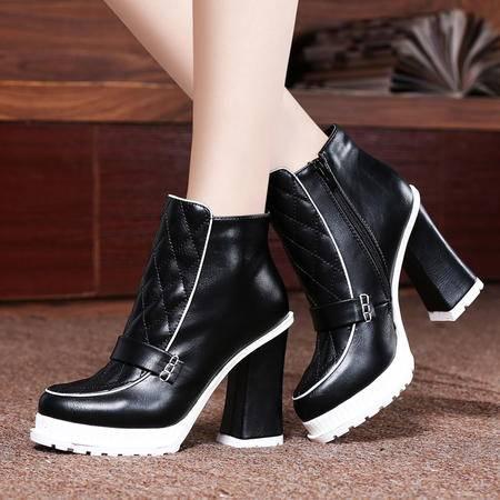 莱卡金顿2014秋冬女鞋马丁靴女粗跟短靴加绒保暖短筒靴高跟鞋防水台女靴子