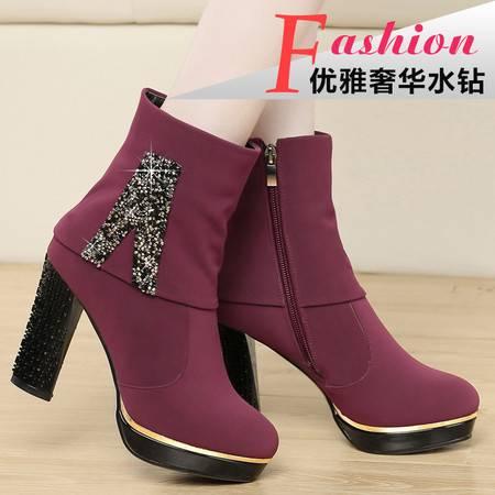 盾狐2014秋冬短筒靴粗跟英伦风短靴女高跟鞋防水台女靴子女鞋单靴