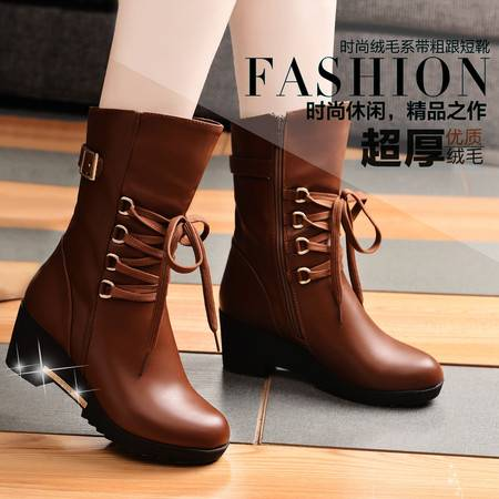 盾狐2014秋冬中筒靴女靴防水台马丁靴坡跟时尚复古短靴加绒保暖雪地靴女鞋
