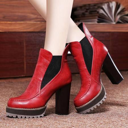 莱卡金顿2014秋冬女鞋高跟鞋女靴子粗跟防水台短靴子加绒保暖踝靴