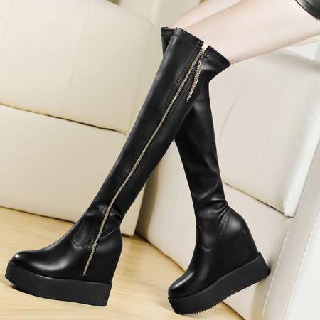 盾狐2014秋冬内增高女鞋松糕鞋厚底长靴弹力靴侧拉链长筒靴女靴子