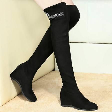 盾狐2014秋冬高筒靴过膝长靴坡跟女靴时装弹力靴高跟女鞋两穿套筒靴