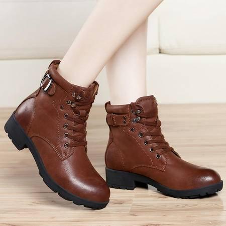 古奇天伦2014冬季保暖雪地靴头层牛皮平底靴棉靴军靴加绒女鞋系带短靴