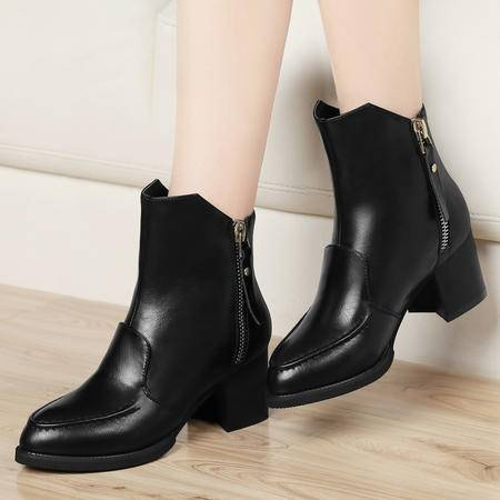 古奇天伦2014秋冬女靴子粗跟短靴短筒马丁靴及踝靴中跟机车靴加绒保暖女鞋