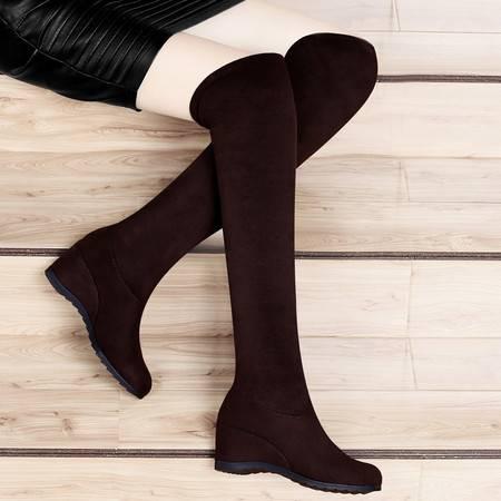 古奇天伦秋冬长靴过膝靴弹力靴长筒靴高跟内增高女靴子坡跟女鞋