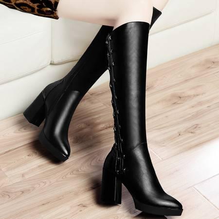 古奇天伦秋冬女靴子长靴欧美防水台高跟及膝靴加厚保暖长筒靴粗跟女鞋子