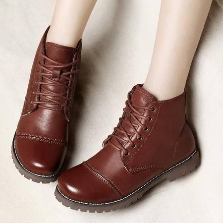 古奇天伦2014冬季女靴平跟真皮马丁靴英伦短靴头层牛皮加绒保暖靴雪地靴女鞋