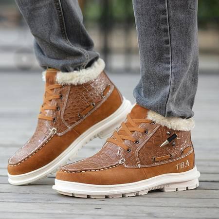 牛头酋长男鞋冬季潮流男士短筒雪地靴真皮男靴子加绒保暖棉鞋