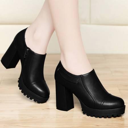 古奇天伦2015春季新款欧美单鞋圆头深口粗跟高跟鞋厚底防水台女鞋休闲鞋