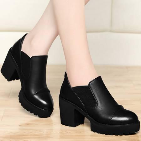 古奇天伦春季新款粗跟高跟鞋女单鞋防水台厚底套脚工作鞋圆头弹力布女鞋