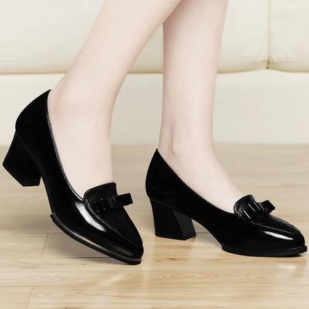 古奇天伦2015新款单鞋女中跟浅口蝴蝶结粗跟鞋子韩版女皮鞋