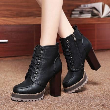 莱卡金顿2014秋冬加绒保暖女短靴马丁靴女靴子高跟鞋粗跟英伦系带女鞋