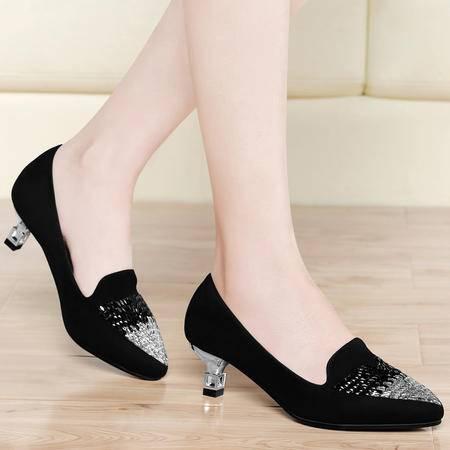古奇天伦2015春季新款欧美尖头水钻细跟女鞋浅口套脚中跟时尚单鞋