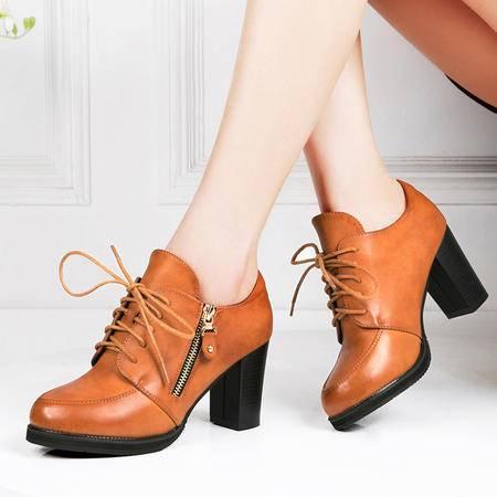 莱卡金顿2015新款春季女鞋粗跟防水台高跟鞋系带圆头百搭时尚女单鞋休闲鞋