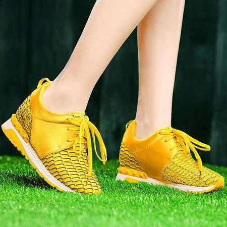 盾狐2015春季新款休闲鞋时尚平底鞋网纱透气系带运动鞋跑步鞋女鞋