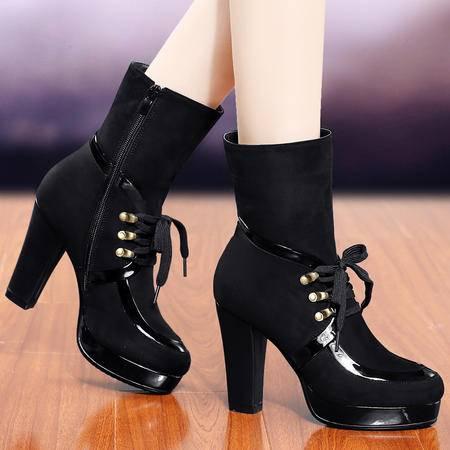 盾狐2014秋冬季新款马丁靴女粗跟高跟防水台复古中筒靴加绒保暖女靴子