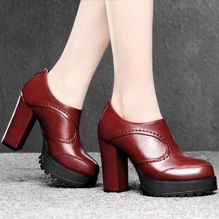 盾狐2015春季新款时尚女鞋高跟单鞋潮深口英伦粗跟套脚防水台厚底休闲鞋