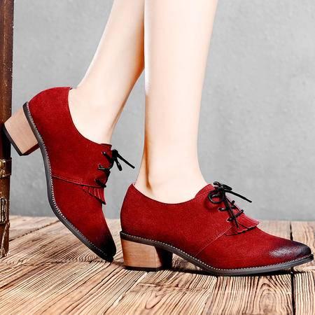 盾狐2015春季新款时尚系带中跟女鞋英伦尖头深口英伦粗跟单鞋休闲鞋