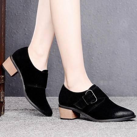 盾狐2015春季新款时尚单鞋搭扣女英伦尖头中跟粗跟深口OL休闲鞋女鞋