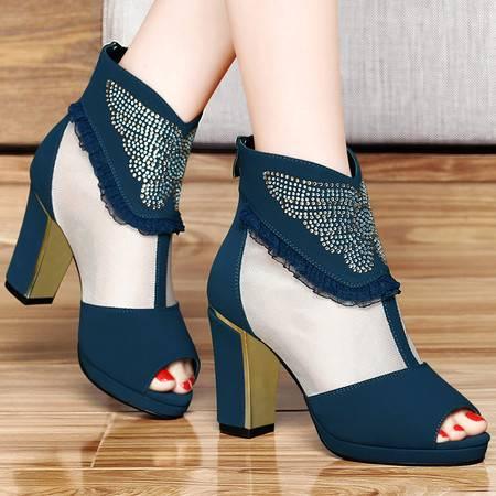 百年纪念春季新款网纱透气鱼嘴鞋水钻时尚防水台高跟鞋性感粗跟女鞋子