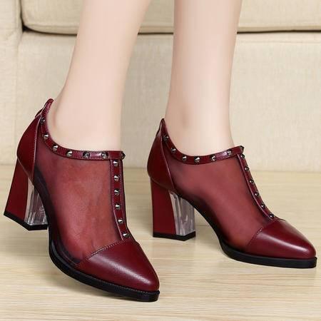 百年纪念春夏新款韩版潮女网纱透气女鞋粗跟高跟鞋尖头铆钉低帮鞋单鞋