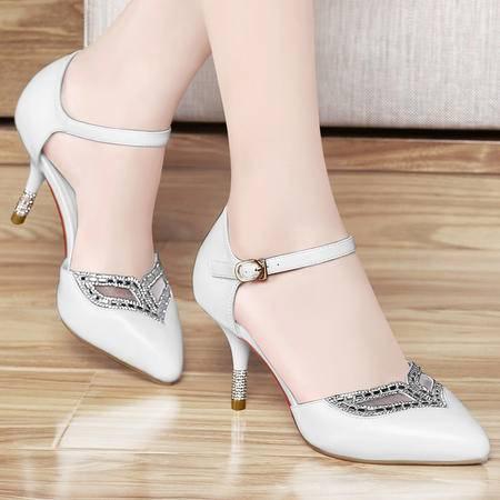 百年纪念春夏新款优雅水钻女鞋细跟高跟鞋时尚一字扣尖头包跟单鞋