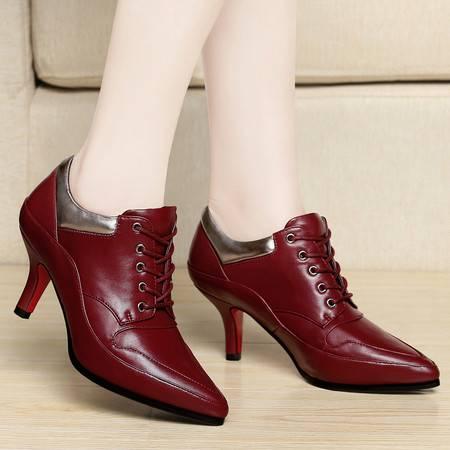 百年纪念春秋季新款英伦尖头女鞋时尚细跟高跟鞋休闲鞋低帮单鞋女鞋