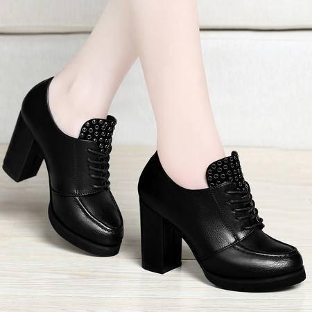 百年纪念春季新款单鞋时尚粗跟高跟鞋休闲鞋系带低帮鞋时尚铆钉圆头女鞋子
