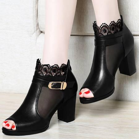 百年纪念春夏新款女鞋鱼嘴鞋凉鞋网纱蕾丝透气时尚高跟鞋粗跟英伦女单鞋