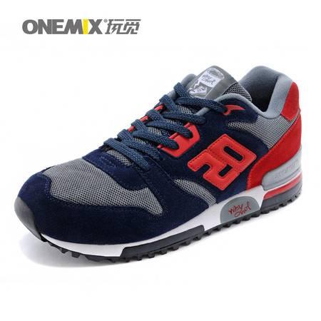 Onemix春秋复古男鞋男跑鞋情侣款运动鞋女跑步鞋旅游鞋系带休闲鞋户外鞋