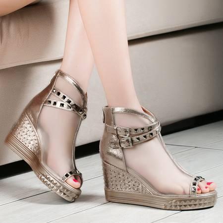 莱卡金顿春夏新款女单鞋欧美时尚坡跟高跟鞋鱼嘴网纱鞋透气厚底防水台凉鞋女鞋