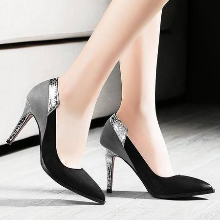 莱卡金顿春季女鞋新款欧美浅口尖头细跟OL女单鞋时尚高跟鞋休闲鞋