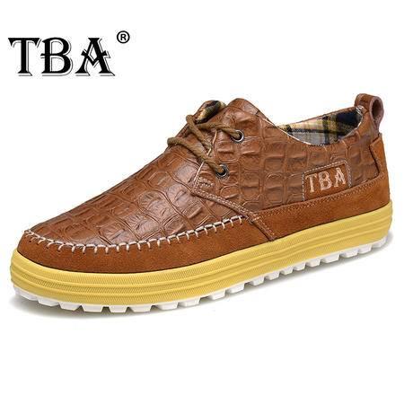 牛头酋长春季新款男鞋潮流鳄鱼纹男皮鞋真皮休闲鞋时尚英伦厚底运动板鞋