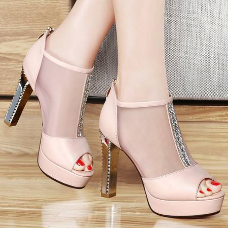 百年纪念夏季新款凉鞋网纱鱼嘴鞋罗马女鞋防水台粗跟高跟鞋包跟水钻女单鞋
