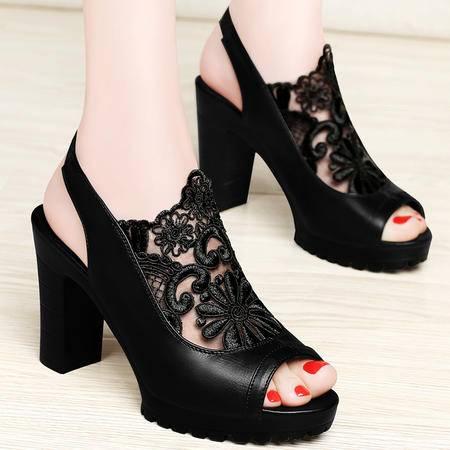 百年纪念高跟鞋春夏季新款网纱蕾丝透气鱼嘴鞋罗马女鞋粗跟防水台凉鞋
