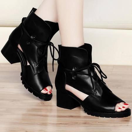 古奇天伦春秋新款凉鞋中跟粗跟方跟休闲鞋鱼嘴鞋单鞋女学生系带凉靴子女鞋