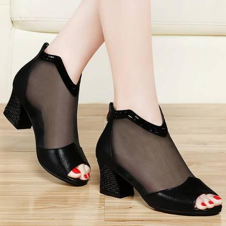 古奇天伦夏季新款凉鞋时尚百搭粗跟高跟鞋网纱透气鱼嘴鞋水钻女鞋