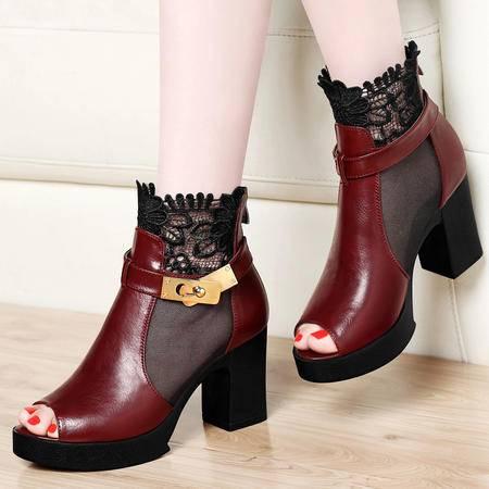 古奇天伦夏季新款性感蕾丝鱼嘴鞋女鞋子粗跟高跟鞋防水台网纱透气凉鞋