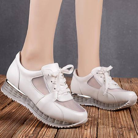 盾狐春季网纱透气休闲鞋运动鞋厚底女式气垫鞋单鞋摇摇鞋女鞋