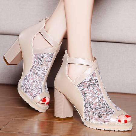 盾狐春夏时尚女鞋透气凉鞋高跟鞋网纱鱼嘴鞋休闲鞋粗跟单鞋