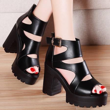 盾狐夏季凉鞋休闲鞋厚底松糕鞋粗跟罗马女鞋鱼嘴鞋防水台高跟鞋