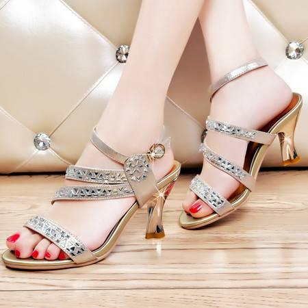 盾狐夏季新款凉鞋时尚高跟鞋甜美水钻舒适粗跟优雅鱼嘴鞋女鞋