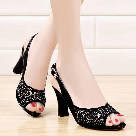 盾狐夏季新款性感鱼嘴鞋凉鞋高跟鞋粗跟一字扣带网纱水钻透气女鞋