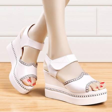 盾狐夏季新款厚底坡跟女鞋青春学生鞋鱼嘴凉鞋水钻防水台松糕鞋